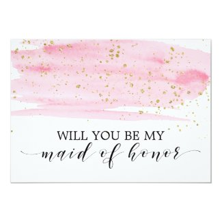 Watercolor Pink Gold Will You Be My Maid Of Honour Invitation