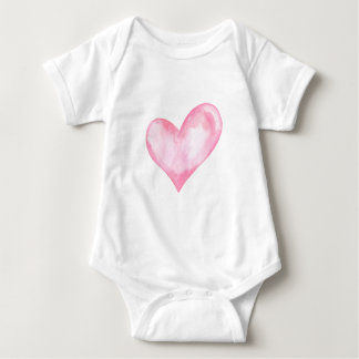 Watercolor pink heart, valentine gift baby bodysuit
