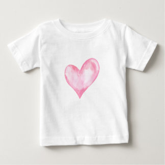 Watercolor pink heart, valentine gift baby T-Shirt