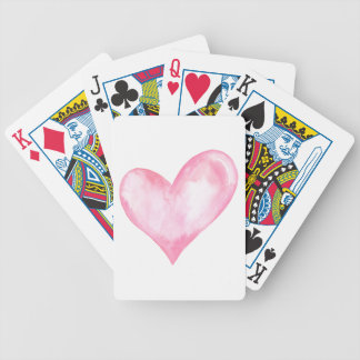 Watercolor pink heart, valentine gift bicycle playing cards