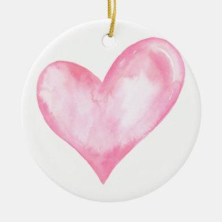 Watercolor pink heart, valentine gift ceramic ornament