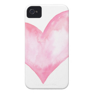 Watercolor pink heart, valentine gift iPhone 4 cover