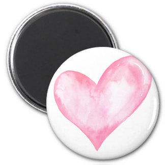 Watercolor pink heart, valentine gift magnet