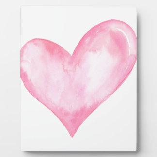 Watercolor pink heart, valentine gift plaque