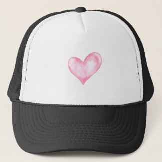 Watercolor pink heart, valentine gift trucker hat