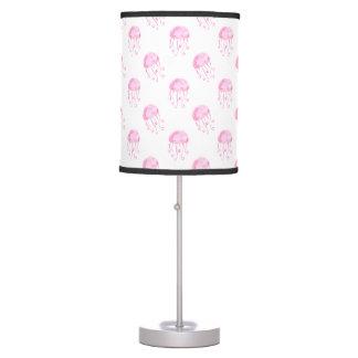 watercolor pink jellyfish beach design table lamps