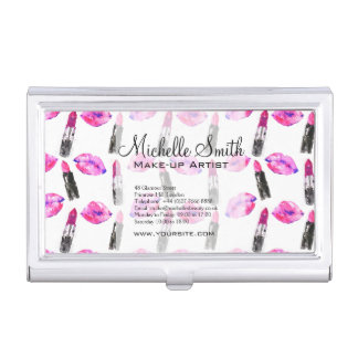 Watercolor pink lips lipstick  pattern makeup business card holder
