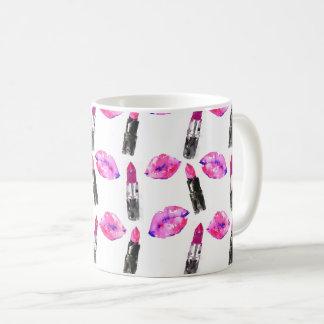 Watercolor pink lips lipstick  pattern makeup coffee mug