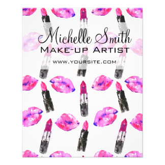 Watercolor pink lips lipstick  pattern makeup flyer
