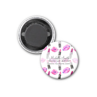 Watercolor pink lips lipstick  pattern makeup magnet