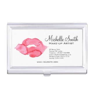 Watercolor pink lips makeup branding business card holder