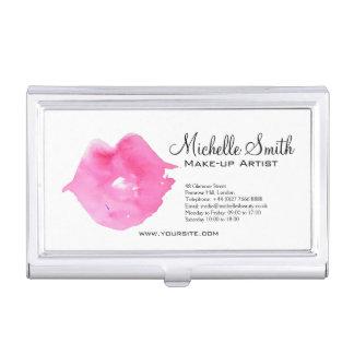 Watercolor pink lips makeup branding business card holder
