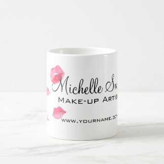 Watercolor pink lips makeup branding coffee mug