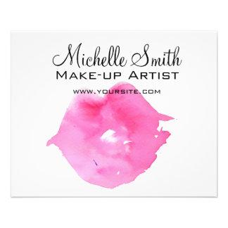 Watercolor pink lips makeup branding flyer
