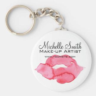 Watercolor pink lips makeup branding keychain