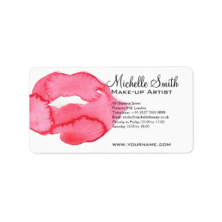 Watercolor pink lips makeup branding label