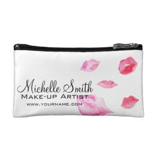Watercolor pink lips makeup branding makeup bags