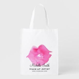 Watercolor pink lips makeup branding reusable grocery bag