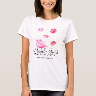 Watercolor pink lips makeup branding T-Shirt