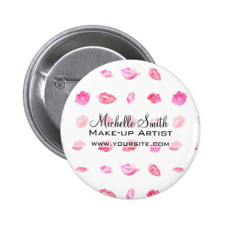 Watercolor pink lips pattern makeup branding 2 inch round button