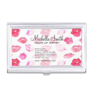 Watercolor pink lips pattern makeup branding business card holder