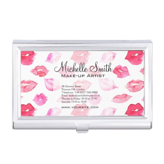 Watercolor pink lips pattern makeup branding case for business cards