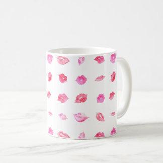 Watercolor pink lips pattern makeup branding coffee mug