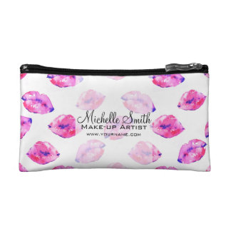 Watercolor pink lips pattern makeup branding cosmetic bag