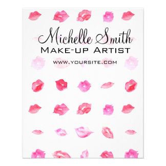 Watercolor pink lips pattern makeup branding flyer