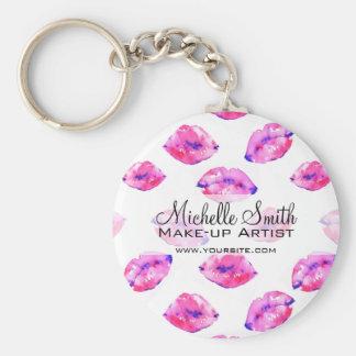 Watercolor pink lips pattern makeup branding keychain