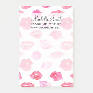 Watercolor pink lips pattern makeup branding post-it® notes
