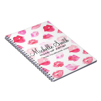 Watercolor pink lips pattern makeup branding spiral notebook