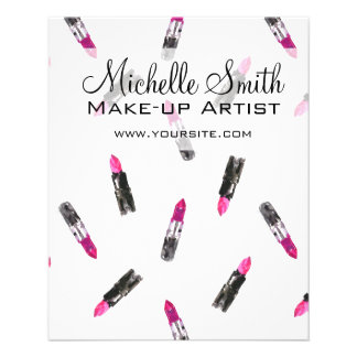 Watercolor pink lipstick pattern makeup branding flyer