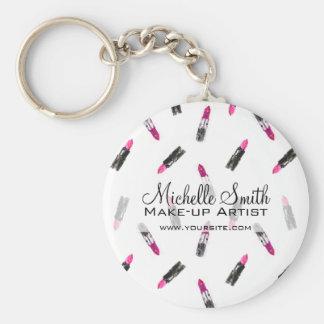 Watercolor pink lipstick pattern makeup branding keychain