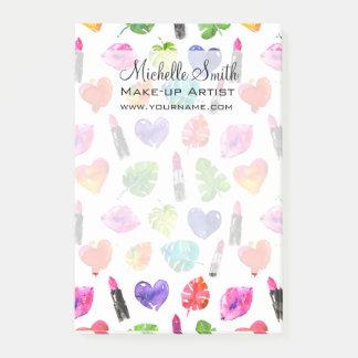 Watercolor pink lipstick pattern makeup branding post-it notes