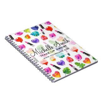 Watercolor pink lipstick pattern makeup branding spiral notebook