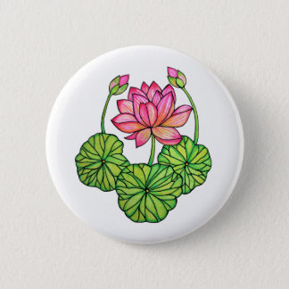 Watercolor Pink Lotus with Buds & Leaves 2 Inch Round Button