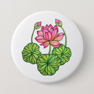 Watercolor Pink Lotus with Buds & Leaves 3 Inch Round Button