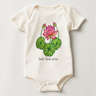 Watercolor Pink Lotus with Buds & Leaves Baby Bodysuit