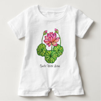 Watercolor Pink Lotus with Buds & Leaves Baby Romper