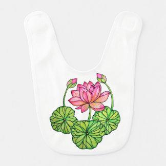 Watercolor Pink Lotus with Buds & Leaves Bib