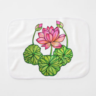 Watercolor Pink Lotus with Buds & Leaves Burp Cloth