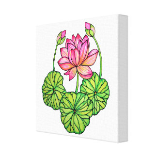 Watercolor Pink Lotus with Buds & Leaves Canvas Print