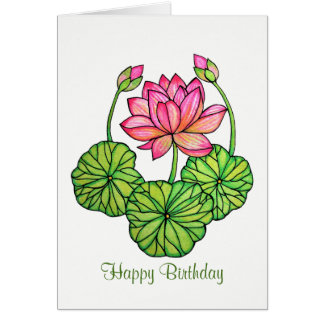 Watercolor Pink Lotus with Buds & Leaves Card