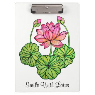 Watercolor Pink Lotus with Buds & Leaves Clipboard