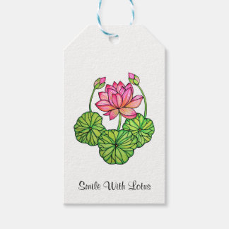 Watercolor Pink Lotus with Buds & Leaves Gift Tags