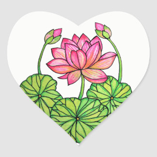 Watercolor Pink Lotus with Buds & Leaves Heart Sticker