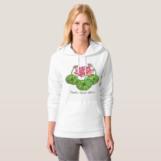 Watercolor Pink Lotus with Buds & Leaves Hoodie