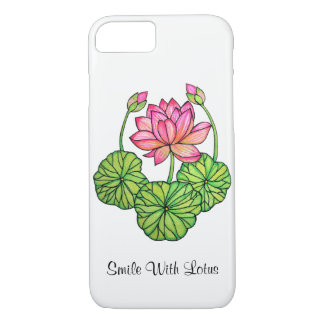 Watercolor Pink Lotus with Buds & Leaves iPhone 8/7 Case