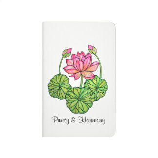 Watercolor Pink Lotus with Buds & Leaves Journal